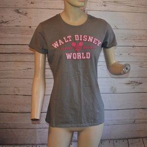Walt Disney Parks Gray Pink Classic Tee Shirt L